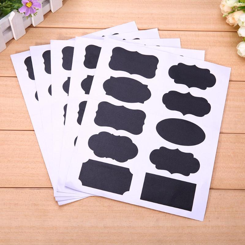 5Set 50pcs Blackboard Sticker Craft Presentation Jar Organizer Labels Glass Windows Chalkboard Deco Stationery Office Supplies