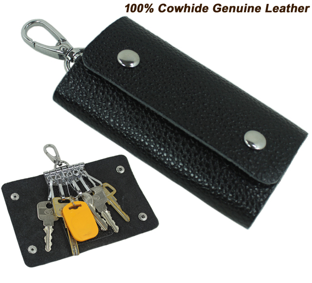 On Sale Fashion Men's 100% Genuine Leather Key Holder Women Key Wallet Leather Key Case Bag Black MC801 Free ship
