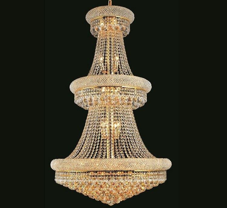 Phube Освещение французский Империя золотой большая Хрустальная люстра Lustre Chrome Люстры Освещение современный Люстры свет Освещение