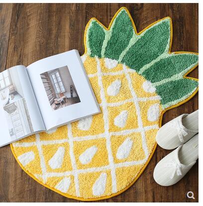 Tapis de pied ananas tapis de chevet pour enfants tapis de salle de bain paillasson décoration de maison pad alimentaire antidérapant