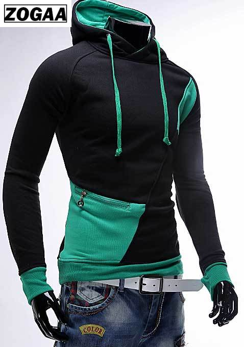 spring and autumn new hoodie men's matching color patchwork jumper Korean version of men's coat 4