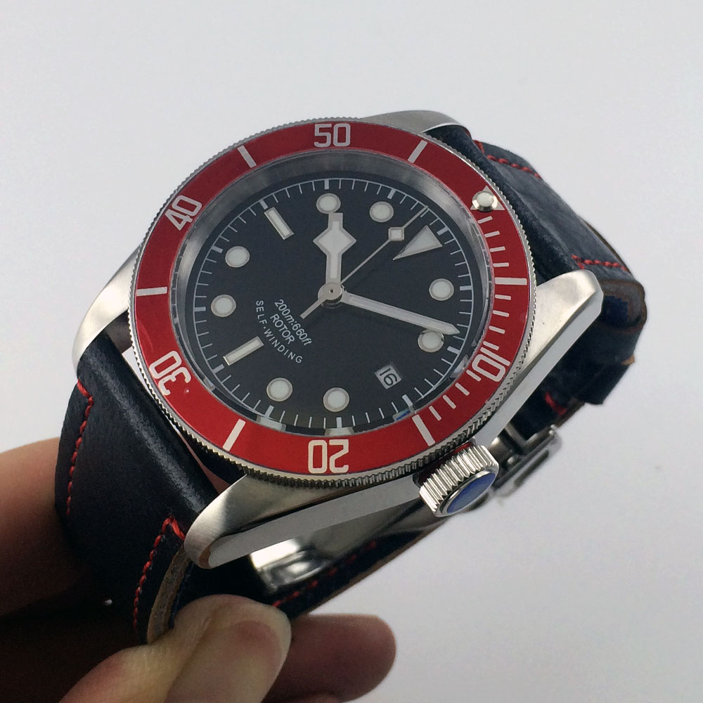 41mm Corgeut black sterile dial silver rim hands red insert Bezel sapphire glass MIYOTA Automatic Men's watch Cor54 polisehd 41mm corgeut black dial sapphire glass miyota automatic mens watch c102