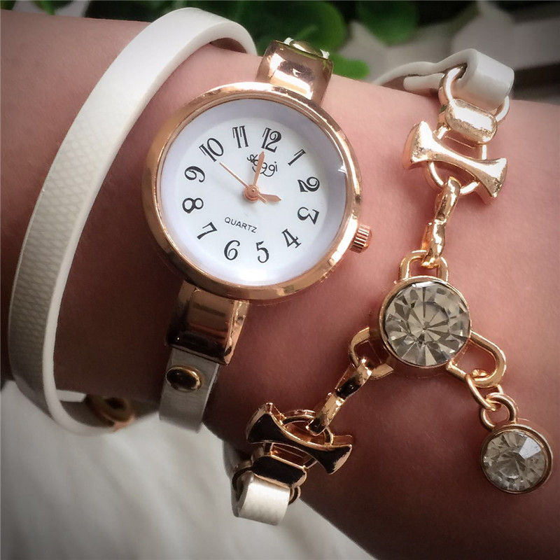 Geneva Winding Rhinestone Pendant Bracelet Leather Strap Digital Lady Casual Quartz Watch Relojes Mujer 2018 Women Watches 360
