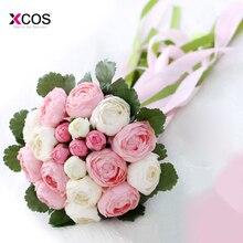Artificial Cheap Bridesmaid Wedding Bouquets Pink Beach Wedding Flowers Bridal Bouquets Bride Flowers Bouquet Fleur Mariage
