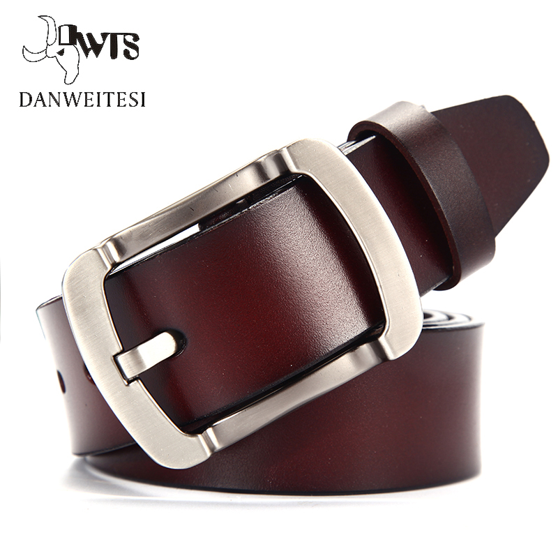 [DWTS] männlichen echtem leder strap mann gürtel ceinture homme cinturon hombre mode vintage pin schnalle für jeans designer gürtel männer
