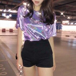 summer stylish bright silk woman tops shiny loose short sleeve t-shirt sexy club aesthetic harajuku women tshirt