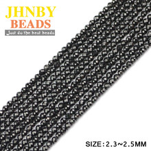 JHNBY AAA 2mm Faceted Black Rare Earth Round Natural Crystal Stone 38cm strand small Loose beads for Jewelry bracelet making DIY()
