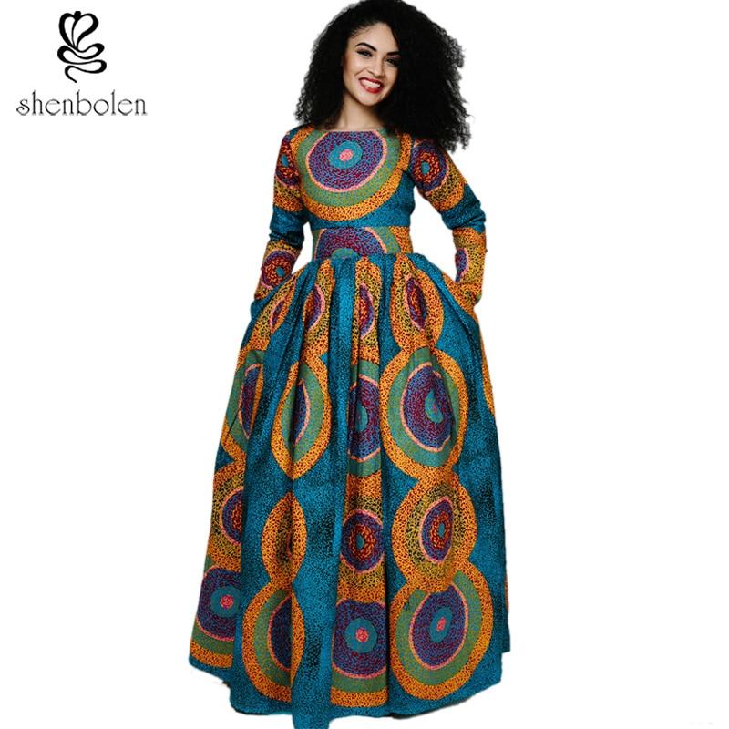 Shenbolen New Africa šaty pro ženy Tradiční oblečení Bavlna Tisk Maxi šaty dámské dlouhý rukáv šaty Plus velikost S-5XL