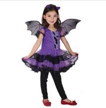 New 2017 Cute Bat Costume Kids Halloween Costumes For Girls Purple Dress Connect Wings Batman Clothes