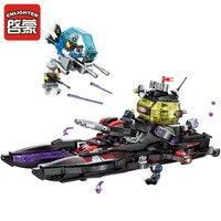 Building Block High Tech Era Shark Cruiser 5 Figures Educational Technic Bricks Toy For Boy Gift