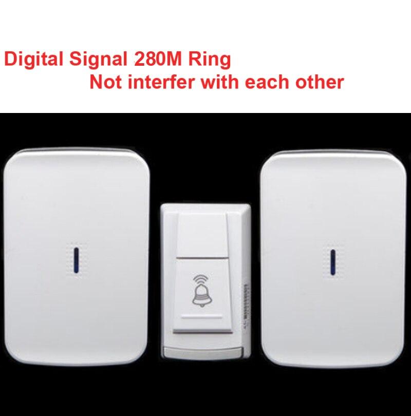 Wireless door bell with 2 receiver & power by AA battery doorbell Waterproof 280 Meter door chime door ring digital signal ring
