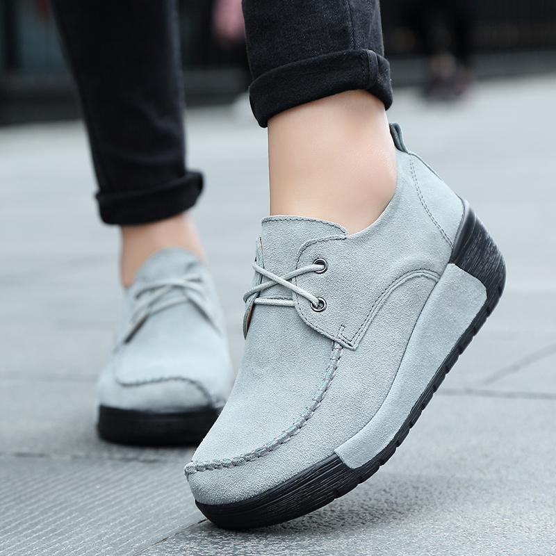 2019 Spring women oxford shoes flats shoes women   leather     suede   Platform Autumn casual boat shoes flats Wedges ladies footwear