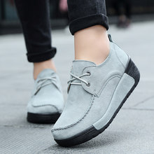 ad672e9ad308 2019 Spring women oxford shoes flats shoes women leather suede Platform  Autumn casual boat shoes flats Wedges ladies footwear