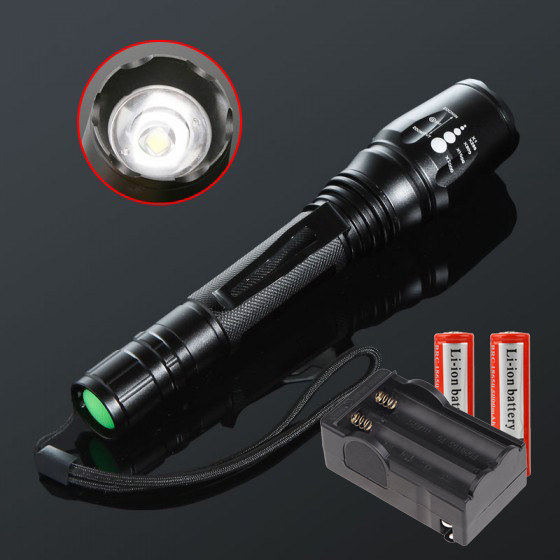 CREE T6 2000 Lumens LED Flashlight Lamp 5 modes  Focus Zoom Led flashlamp linternas + Battery Charger + 1*18650 Battery high lumen led flashlight 4 2v cree xml t6 2 18650 battery 5 modes focalize flash lamp 2 18650 batteries battery charger