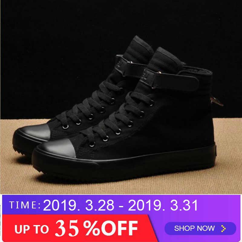 7d9728aa363 2018 новые модные мужские легкие дышащие парусиновые повседневные все черные  белые красные высокие однотонные кроссовки обувь