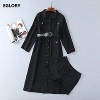 Long Shirt Dress Women S Suit Two Piece Set Long Sleeve Striped Print Black Dress Shirt