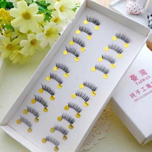 10 par Mini pół rogu czarne sztuczne rzęsy ręcznie robione, miękkie, makijaż oczu naturalne sztuczne oko rzęsy akcesoria kosmetyczne