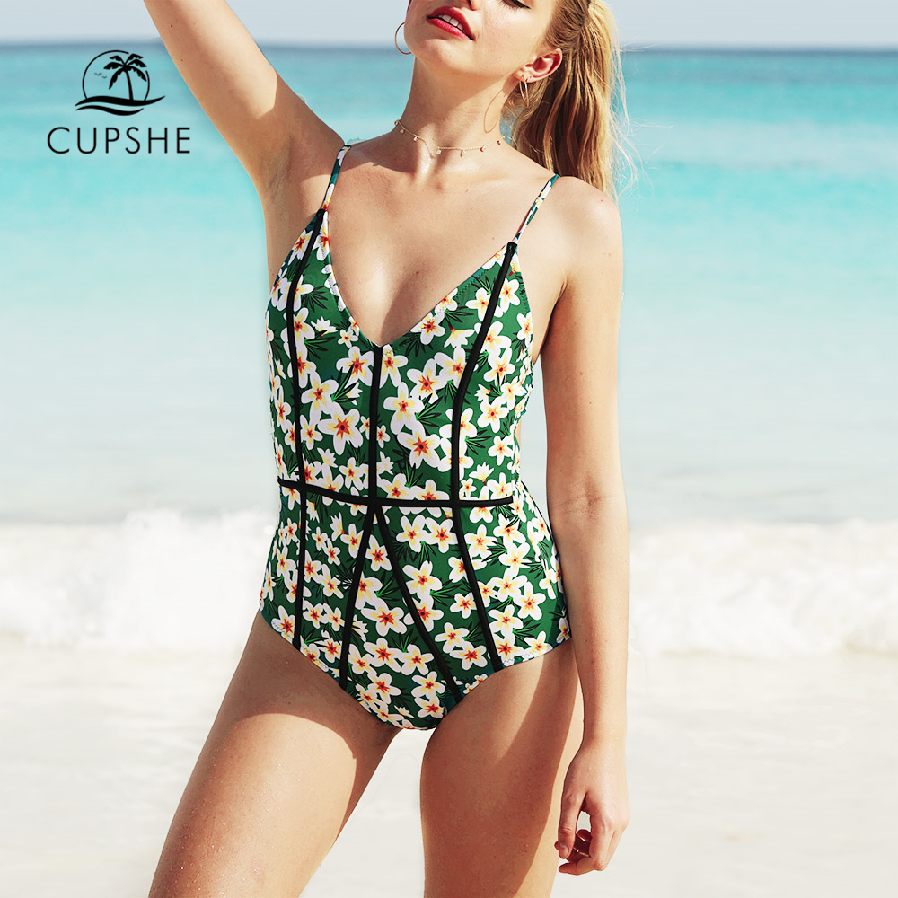 CUPSHE Young And Vigor Print One-piece Swimsuit 2019 Girl Deep V-neck Backless Swimwear Women Sexy Beach Bodysuits Monokinis