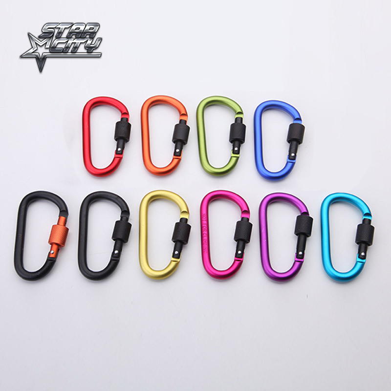Sporte në natyrë Alumini Alumini Siguria Buckle Keychain Hook Climbing Button Carabiner Shape Camping Hook Hiking 10 Colors