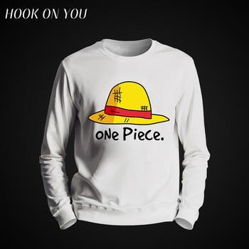 2017 Fashion Tops Cartoon One Piece Men O-Neck Hoodie Funny Sweatshirt Luffy