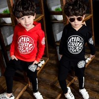 Children S Clothing Boys Fashion Wave Fan Hooded Long Sleeve Sweater Trousers Suit Boy Autumn Winter