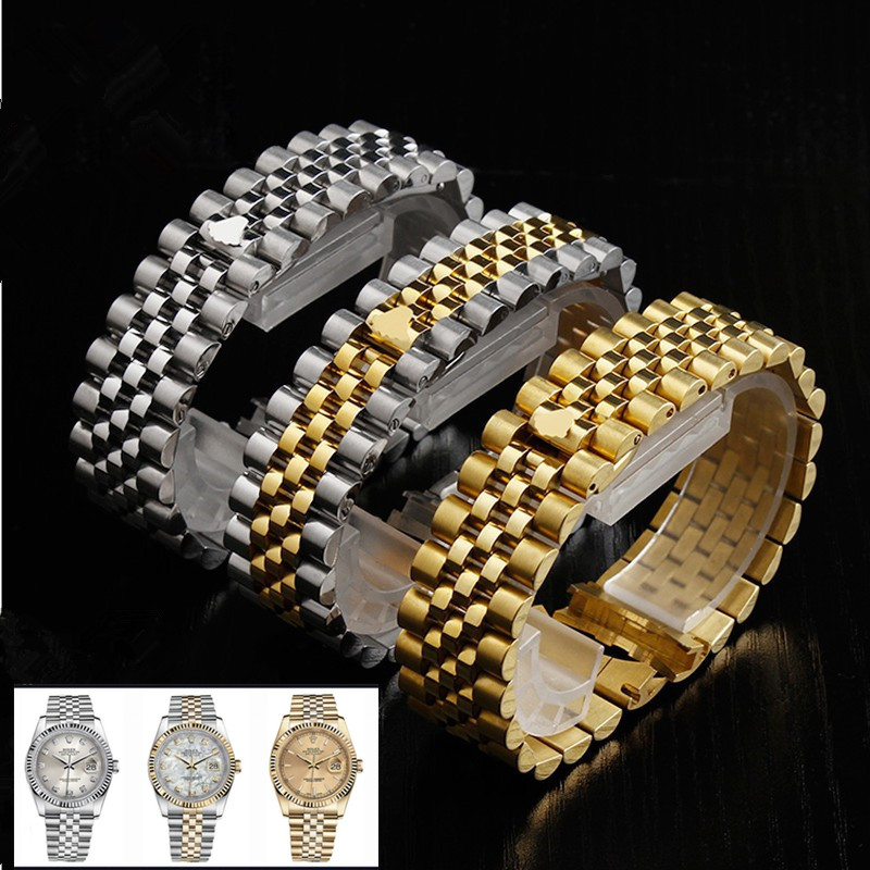 High quality Silver Gold Stainless Steel WatchBand 13mm 17mm 20mm Solid Band Bracelet with Oyster Clasp