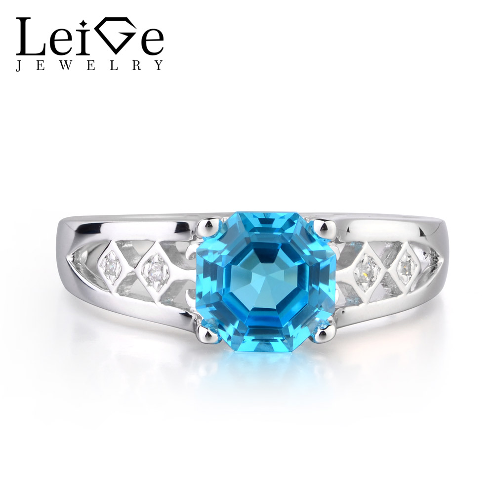 Leige Jewelry Real Swiss Blue Topaz Gemstone November Birthstone 925 Sterling Silver Octagon Cut Wedding Rings For Woman Leige Jewelry Real Swiss Blue Topaz Gemstone November Birthstone 925 Sterling Silver Octagon Cut Wedding Rings For Woman