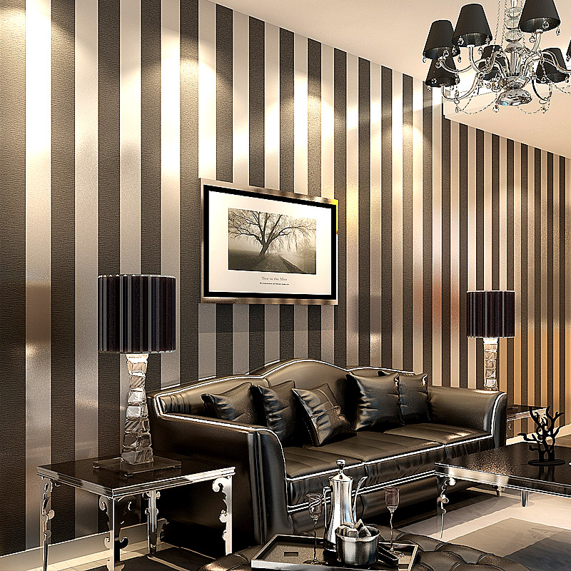 Wallpaper modern papel de parede roll 3d paper black and for Living room paper