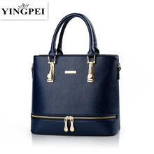 YINGPEI Women Bag PU Leather Top-Handle Handbag Fashion Solid Color Shoulder Messenger Bags Large Casual Tote