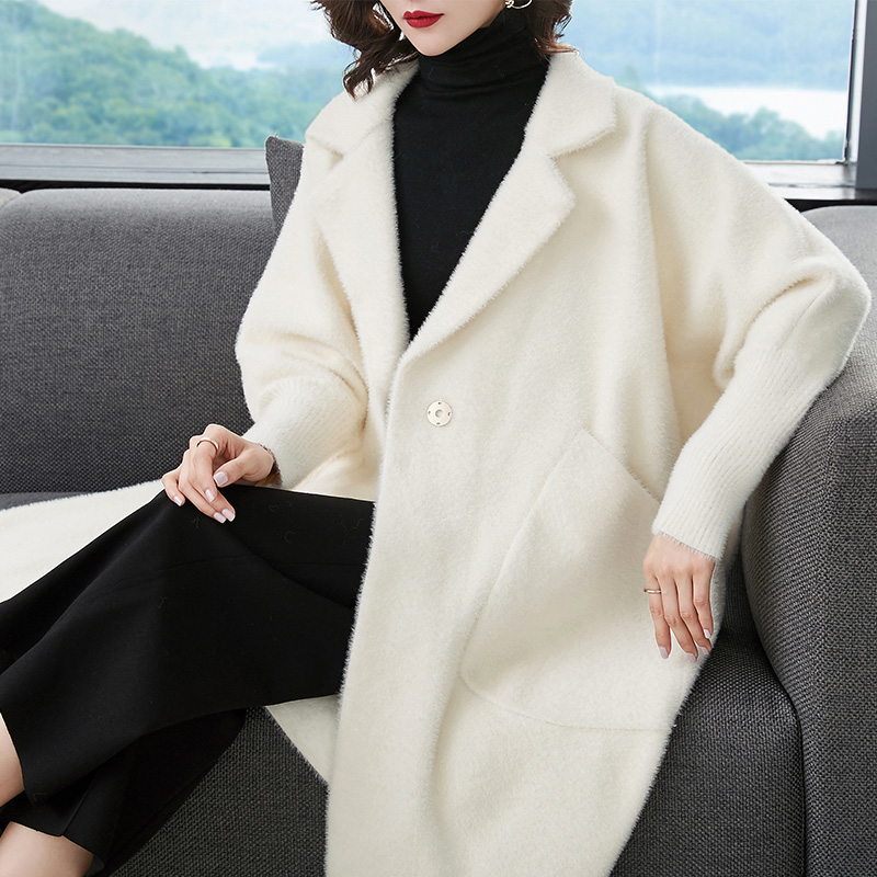 JANELUXURY Brand Women's Solid Color Coat 2019 Autumn Winter New Big Size Simple Turn-down Collar Cardigan Thickened Outwear