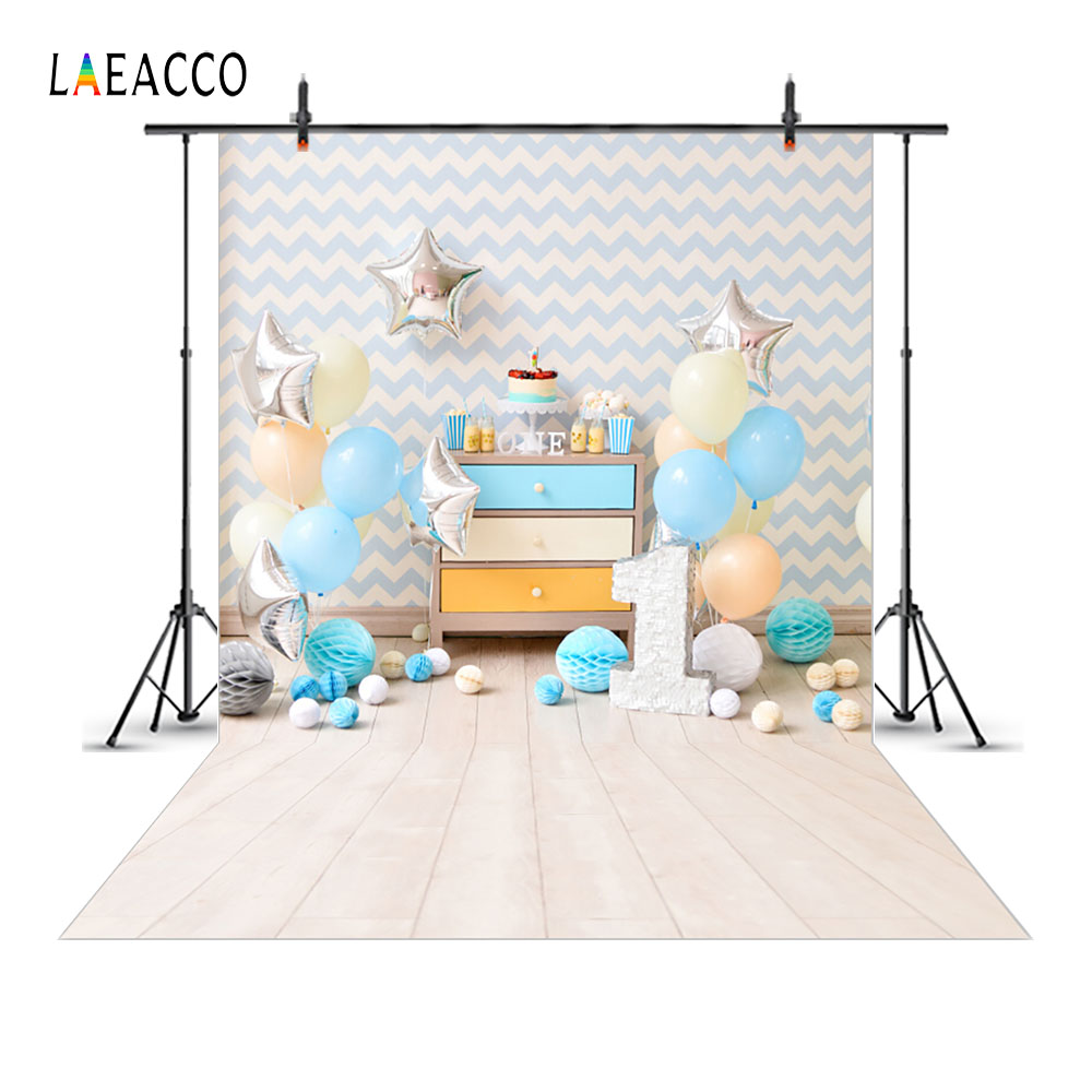 Laeacco Chevrons Wall Balloons 1st Birthday Cake Baby Photography Backgrounds Customized Photographic Backdrops For Photo Studio