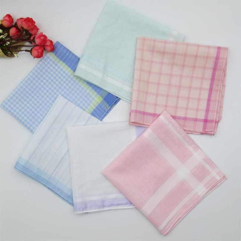 5pcs/lot 29CM Luxury Cotton stripe lace Printed women square Handkerchief ladies hanky Children baby towel party Christmas gift