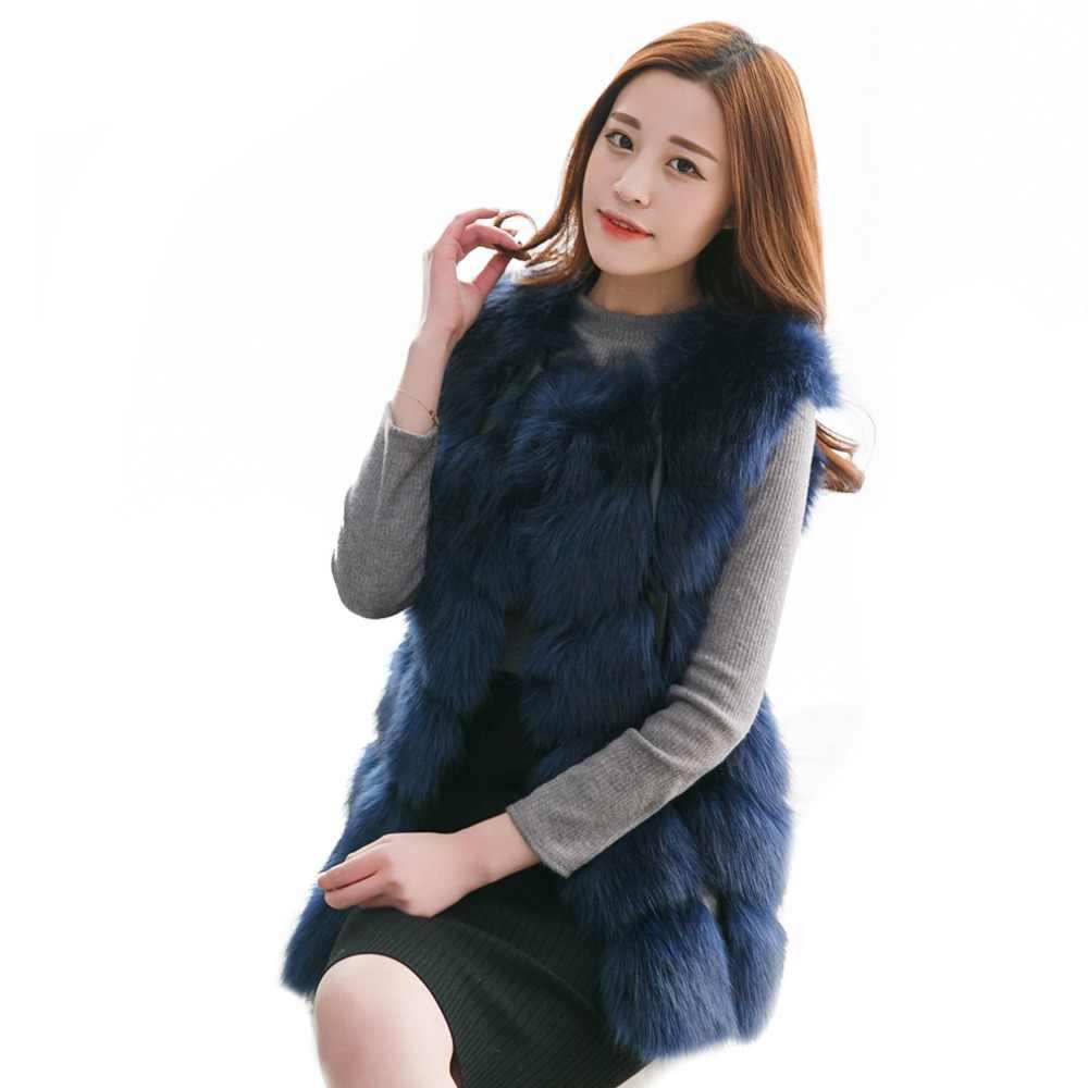 Lisa Colly/Новая женская импортная жилетка из лисьего меха, теплая меховая жилетка, Высококачественная жилетка из искусственного меха, женская зимняя куртка, верхняя одежда
