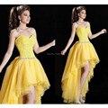 Amarillo corsé vestidos baile del amor vestidos altos bajos del partido vestidos de noche con cuentas Sash más el tamaño de la cremallera volver vestido Formal W022615