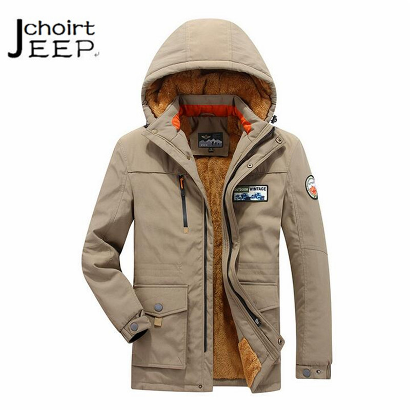 AFS JEEP winter cashmere thickness active men's waterproof coat,high quality military warmly widen keep hot best hooded jackets