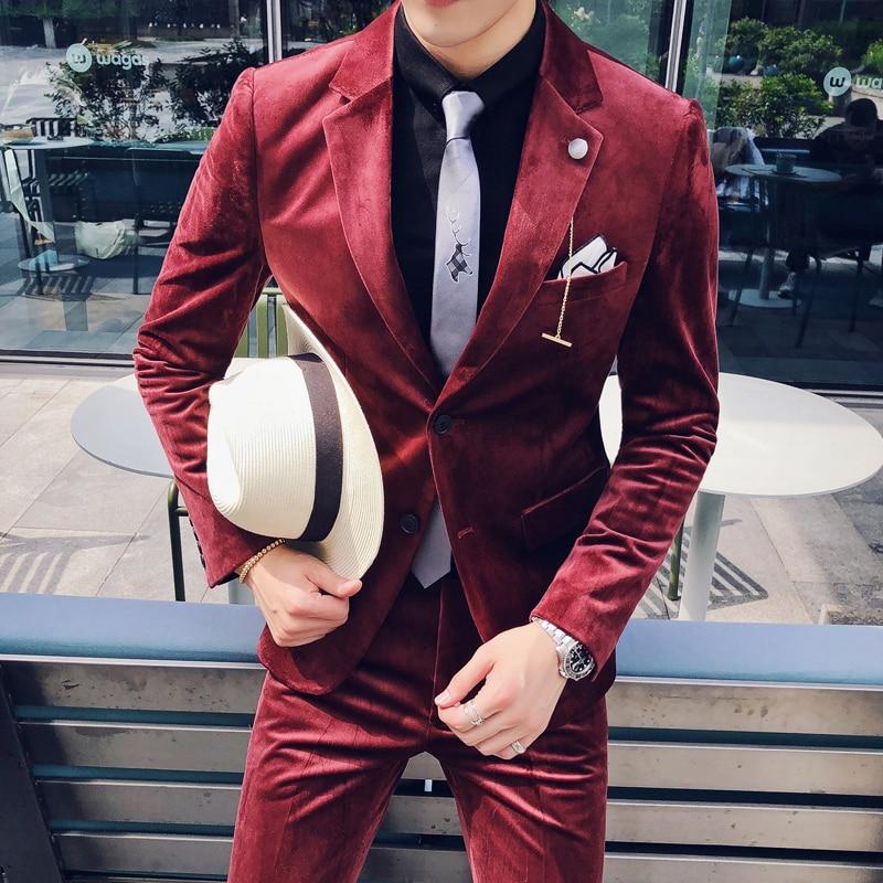 (Jacket +pant) Luxury Velvet Suit Men Costume Mariage Homme 2019 Business Groom Tuxedo Suit Blazer And Apnt Wine Red Grey