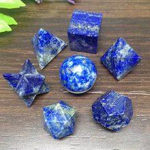JX-LCLYL 7 pces lapis lazuli platonic sólidos conjunto geométrico chakra reiki cura cristal