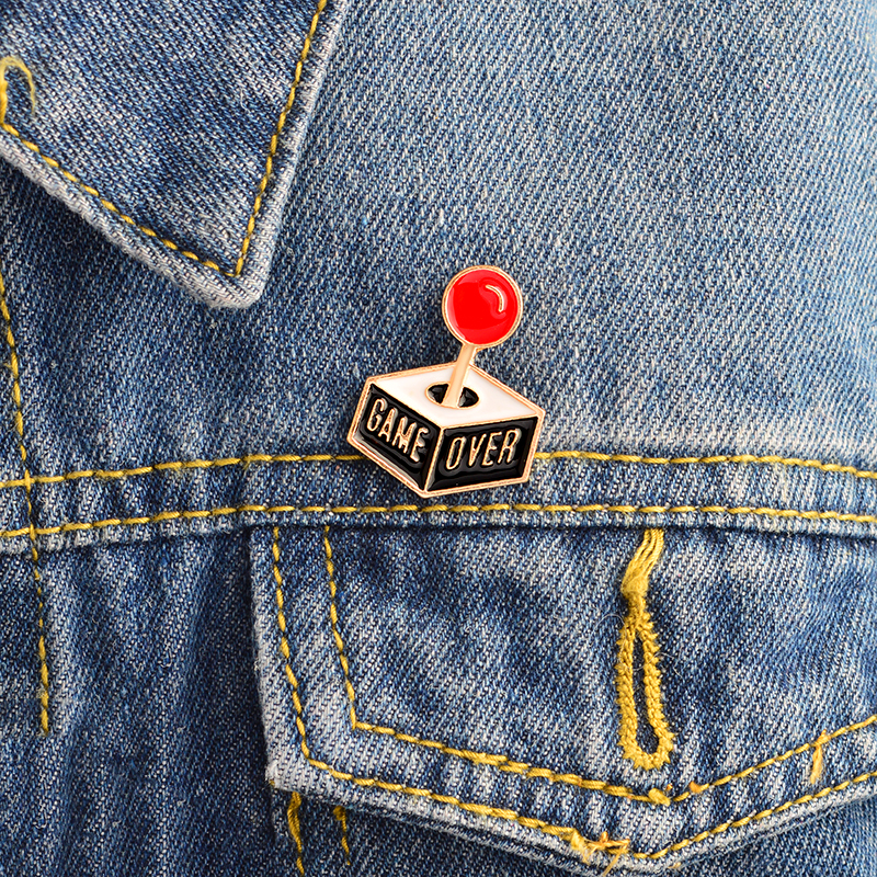 GAME OVER Enamel Pin Cartoon Gamepad Pins Enamel Brooch For DENIM Jacket Badge Jewelry Cute Gift For Kids Boy Friends