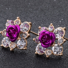 High Quality Rhinestone Flower Crystal Stud font b Earrings b font For Women Party Rose Pink