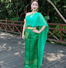 YunNan water splashing Festival Costume sleeveless Outfit Thailands traditional style green Dai womens clothing greeting dress