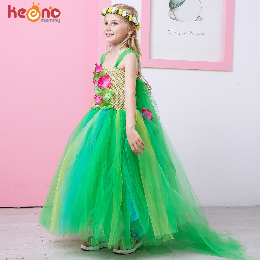Green Flower Girls Elsa Tutu Dress Purim Cosplay Halloween Costume Kids Birthday Party Dresses Fever Inspired Handmade Dress light blue elsa dress girls princess dress kids wedding birthday party tutu dress tulle baby girl halloween cosplay elsa costume