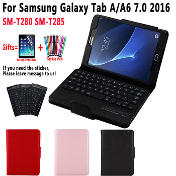 SM-T280 SM-T285 Cover Detach Bluetooth Keyboard Case for Samsung Galaxy Tab A A6 7.0 7 inch 2016 T280 T285 Case with Keyboard for samsung galaxy tab a 7 0 t280 sm t280 t280n t285 high quality ultra slim silk 3 fold transparent cover stand pu leather case