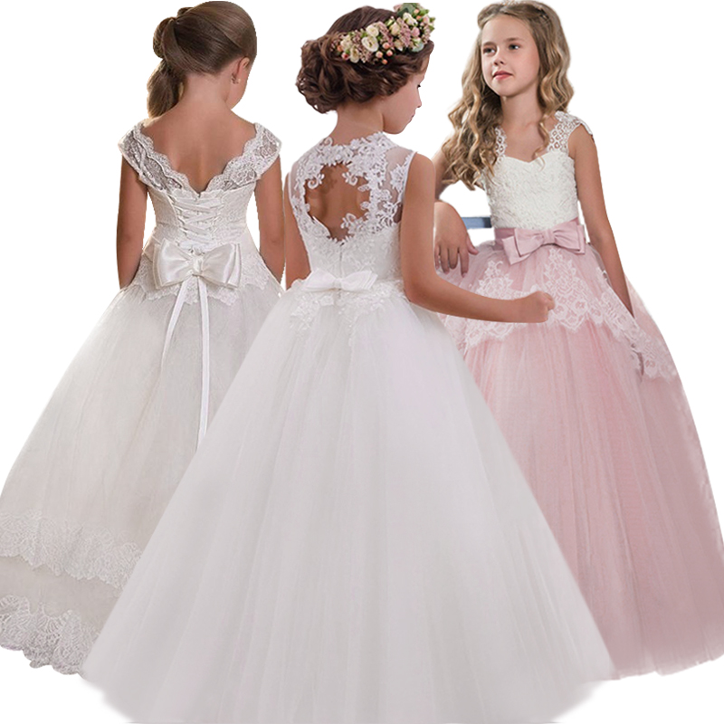 New 2019 Girls'Back Hollow Flower Dress Flower Boy High-end Wedding Dress Elegant Girls' Flower-lace Banquet Dress