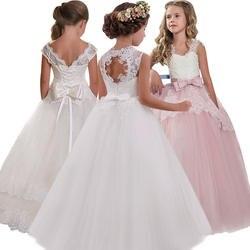 Новинка 2019 года, платье с открытой спиной и цветочным узором для девочек, свадебное платье высокого качества с цветочным узором для