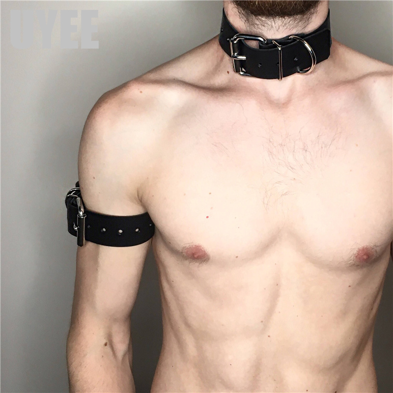 UYEE Fashion Neck bondage PU <font><b>Leather</b></font> <font><b>Sexy</b></font> Male Collar 2018 New Metal Ring Neck Garter Club Party Accessories Suspenders LM-016 image