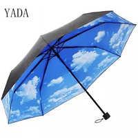 """""""YADA"""" Летнее платье небесно-голубого и белого цветов с узором из облаков складной зонтик дождливый Анти-УФ непромокаемые Солнце Защитный зон..."""