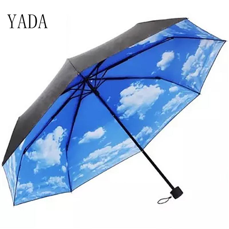 YADA Summer Blue Sky White Clouds Pattern Folding Rainy Umbrella Anti-UV Rainproof Sun Protection Parasol Umbrellas Female YS008