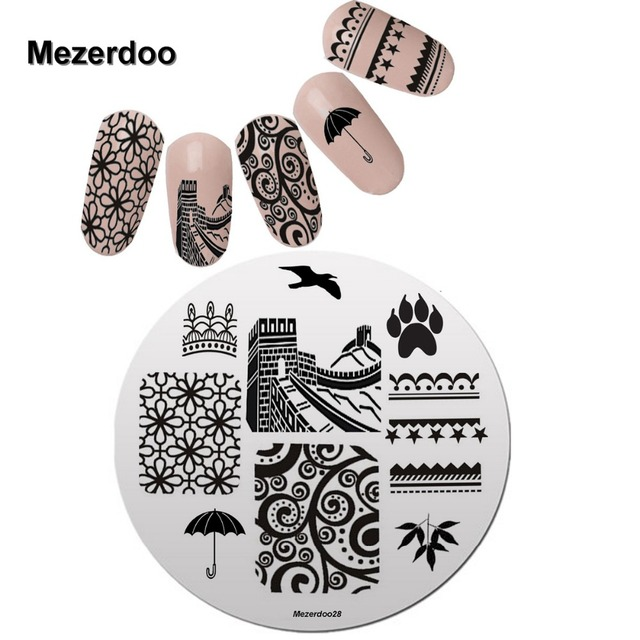 Nail Art Stamping Plate Great Wall Umbrella Design Round Stamp ...