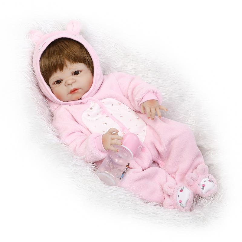 Lovely 23 Inch 57cm Full Body Soft Silicone Vinyl Reborn Baby Girl Doll Toddler Weighted Real Lifelike Newborn Dolls Toy