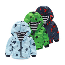 Spring and Autumn Children Boys Stars Print Outerwear Child Clothes Hooded Waterproof Windproof Kids Boy Jackets For 4-10 YR